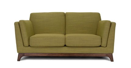 Ceni Mid-Century Modern Fabric Loveseat Seagrass Green
