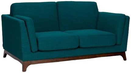 Article Ceni Mid-Century Modern Fabric Loveseat Lagoon Blue