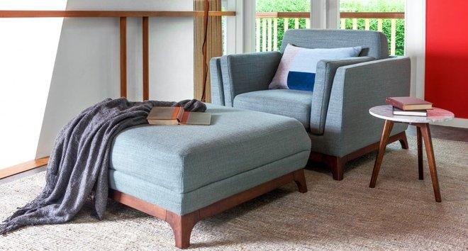 Article Ceni Mid-Century Modern Lounge Chair Aqua