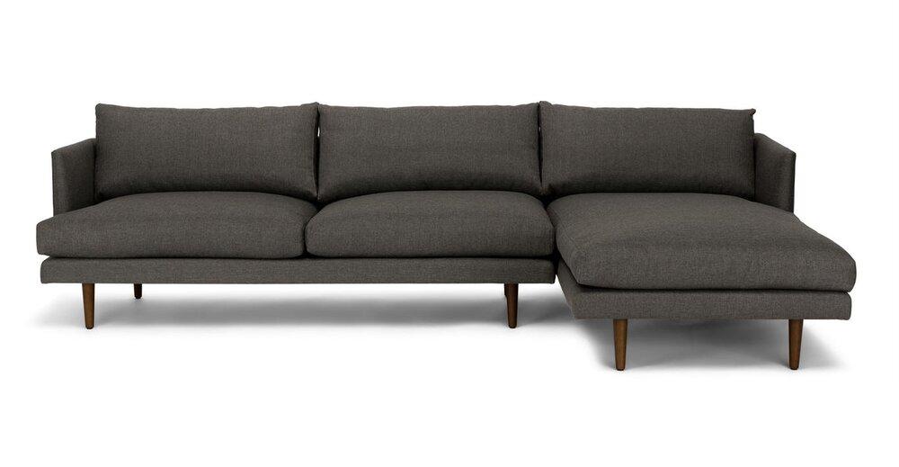 Burrard Right Sectional Sofa Graphite Gray