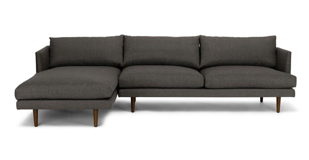 Burrard Left Sectional Sofa Graphite Gray