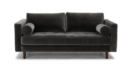 Sven Mid-Century Modern Sofa Shadow Gray 72""