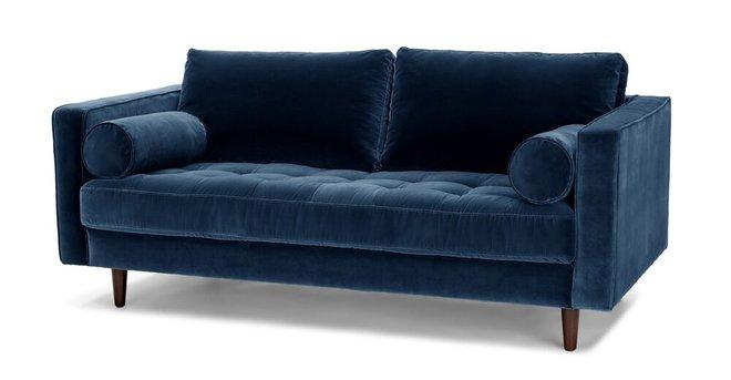 "Sven Mid-Century Modern 72"" Sofa Cascadia Blue"