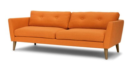 Emil Button Tufted Sofa Orange