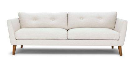 Emil Mid-Century Modern Sofa Quartz White