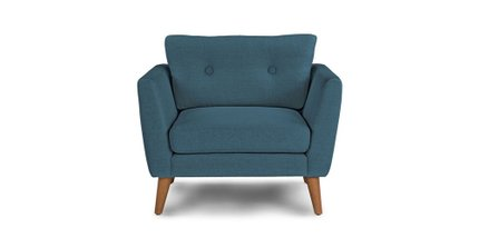 Emil Mid-Century Modern Button Tufted Lounge Chair Blue