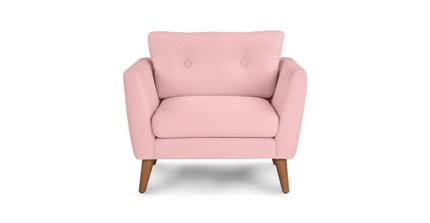 Emil Mid-Century Modern Button Tufted Lounge Chair Rose