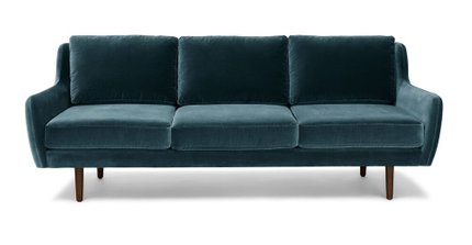 Matrix Modern Contemporary Velvet Sofa Pacific Blue