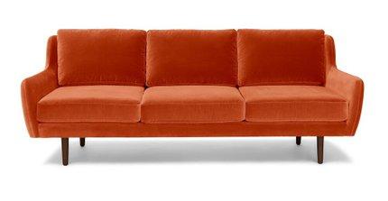Matrix Modern Contemporary Velvet Sofa persimmon Orange
