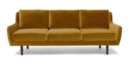 Matrix Modern Contemporary Velvet Sofa Yarrow Gold