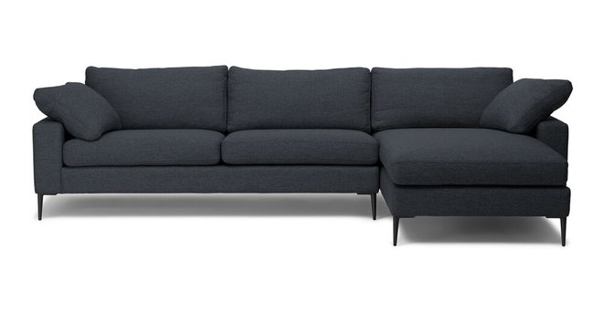 Article Nova Right Sectional Sofa Bard Gray