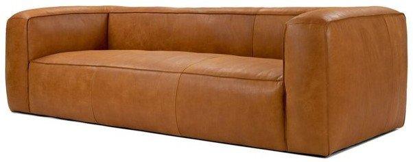 Article Cigar Contemporary Leather Sofa Tan