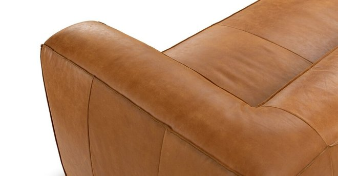 Cigar Contemporary Leather Sofa Tan