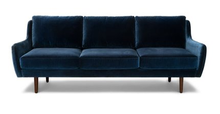Matrix Modern Contemporary Velvet Sofa Cascadia Blue