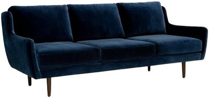 Article Matrix Modern Contemporary Velvet Sofa Cascadia Blue