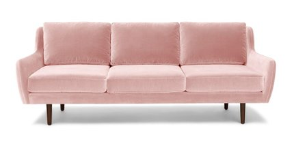 Matrix Modern Contemporary Velvet Sofa Blush Pink