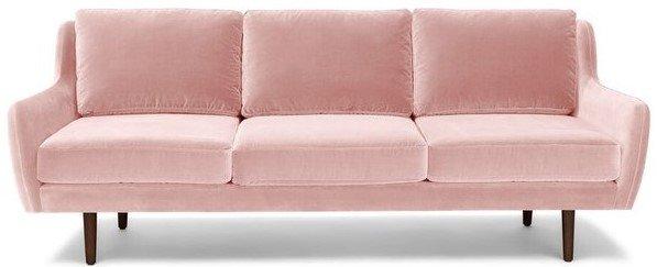 Matrix Modern Contemporary Velvet Sofa Blush Pink