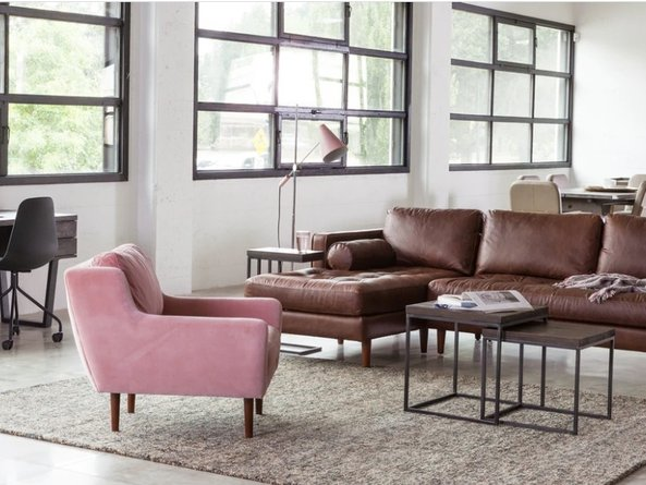 Article Matrix Modern Contemporary Velvet Chair Blush Pink
