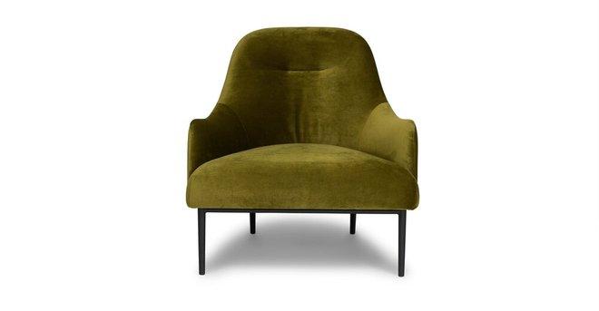 Embrace Lounge Chair Velvet Moss Green