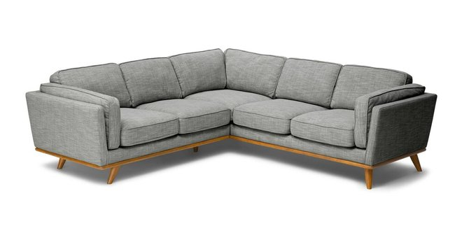 Article Timber Corner Sectional Pebble Gray