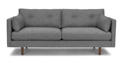 Anton Mid-Century Modern Apartment Button Tufted Sofa Gray