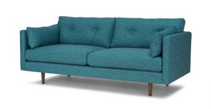 Anton Mid-Century Modern Apartment Button Tufted Sofa Turquoise