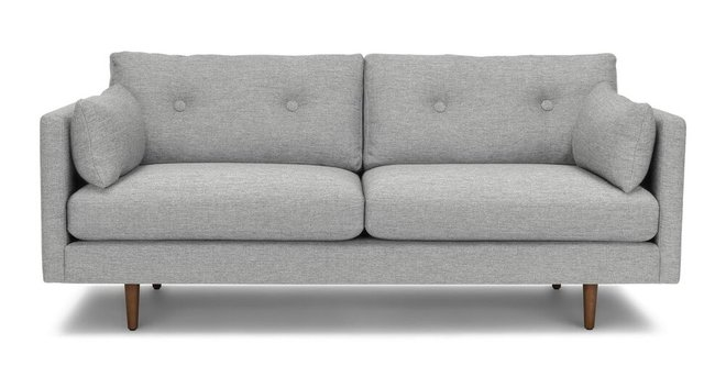 Anton Mid-Century Modern Apartment  Button Tufted Sofa Winter Gray