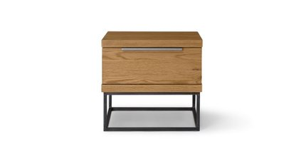 Taiga Industrial Solid Wood Nightstand Oak