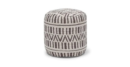 "Bamba 16"" Small Pouf White And Charcoal"