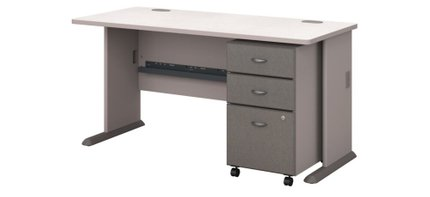 """Series A 60"""" Desk With Cabinet Pewter"""
