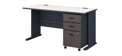 """Series A 60"""" Desk With Cabinet Slate"""