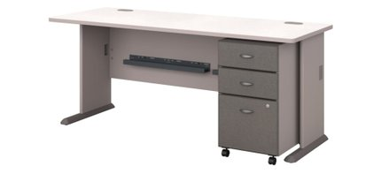 """Series A 72"""" Desk With Cabinet Pewter"""