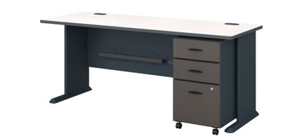 """Series A 72"""" Desk With Cabinet Slate"""