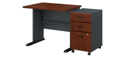 """Series A 36"""" Desk With Cabinet Hansen Cherry"""