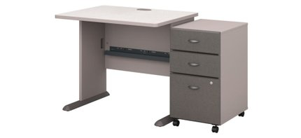 """Series A 36"""" Desk With Cabinet Pewter"""