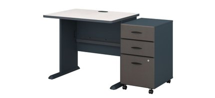 """Series A 36"""" Desk With Cabinet Slate"""