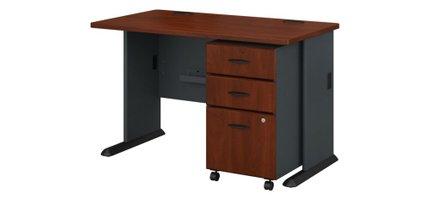 """Series A 48"""" Desk With Cabinet Hansen Cherry"""