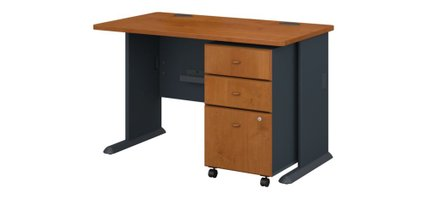"""Series A 48"""" Desk With Cabinet Natural Cherry"""