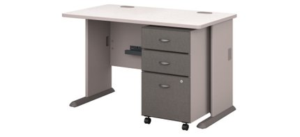 """Series A 48"""" Desk With Cabinet Pewter"""