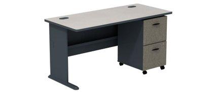 Series A Desk With 2 Drawer Mobile Pedestal Slate