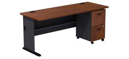 Series A Desk With 2 Drawer Mobile Pedestal Hansen Cherry