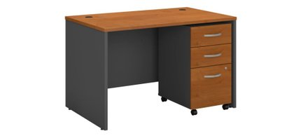 """Series C 48"""" X 30"""" Office Desk With Cabinet Natural Cherry"""