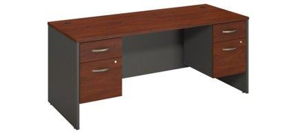 """Series C 72"""" X 30"""" Desk With Pedestals Hansen Cherry"""