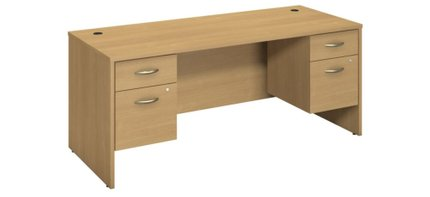 "Series C 72"" X 30"" Desk With Pedestals Light Oak"