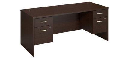 "Series C 72"" X 30"" Desk With Pedestals Mocha Cherry"