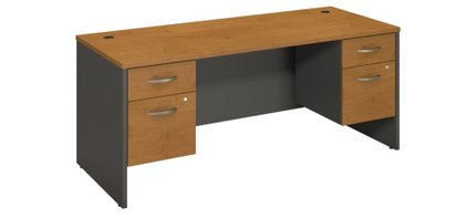 "Series C 72"" X 30"" Desk With Pedestals Natural Cherry"