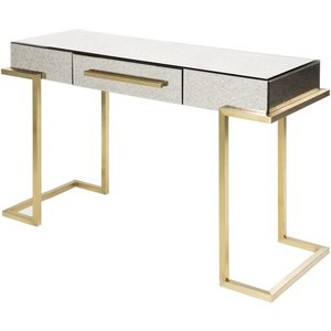 Saavedra Console Table Gold And White