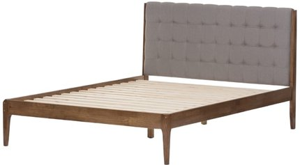 Clifford Queen Bed Light Gray & Brown