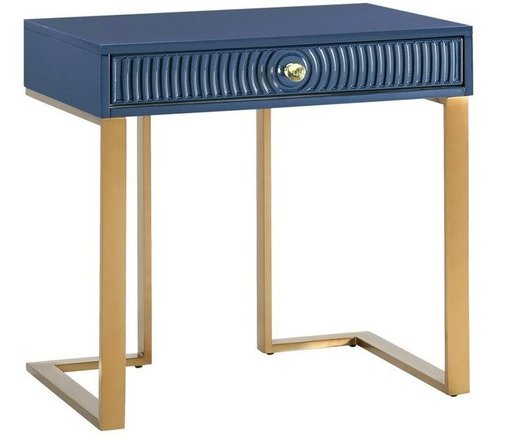Janie Side Table Blue & Gold