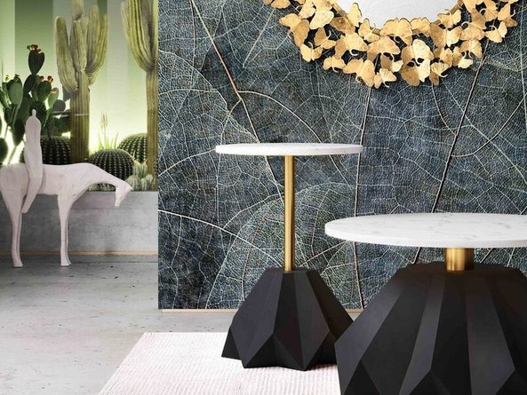 Origami Side Table White & Gold